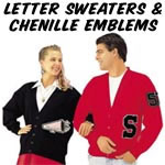 school letter sweaters and great assortment of chenille emblems