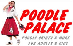 poodle skirts for adults, poodle skirts for children, complete outfits or ala carte, plus saddle shoes & accessories