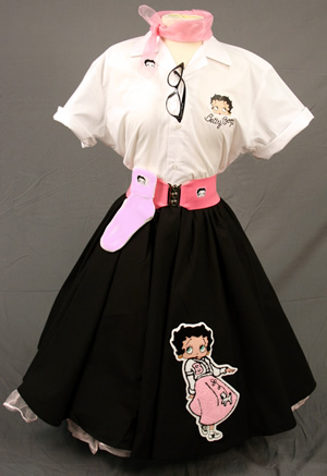 What Did Women Wear in the 1950s? Adult Betty Boop Complete Outift with Black Circle Skirt  w Betty Boop Wearing a Pink Poodle Skirt  $119.95 AT vintagedancer.com