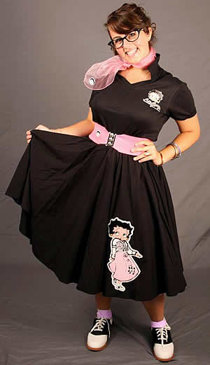 1950s Costumes- Poodle Skirts, Grease, Monroe, Pin Up, I Love Lucy Adult Betty Boop Complete Outfit with Black Circle Skirt w Betty Boop in Pink Poodle Skirt Chenille $119.95 AT vintagedancer.com