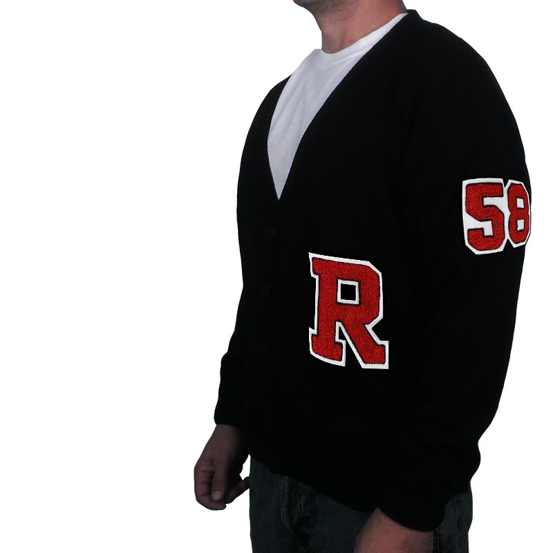 1950s Mens Shirts | Retro Bowling Shirts, Vintage Hawaiian Shirts Varsity Letter Sweater w Chenille Number  Letter $69.95 AT vintagedancer.com