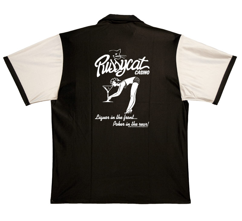 1950s Style Mens Shirts Pussycat Casino Stock Print on 50s Style Bowling Shirts $34.95 AT vintagedancer.com