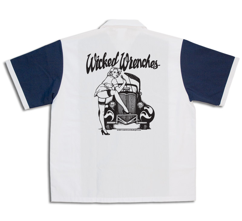 1950s Style Mens Shirts Wicked Wrenches Stock Print on 50s Style Bowling Shirts $34.95 AT vintagedancer.com