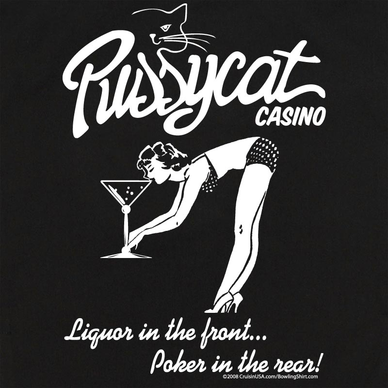Vintage Shirts – Mens – Retro Shirts Button Up Rockaway 2248 Bowling Shirt With Pussycat Casino on Back $34.95 AT vintagedancer.com