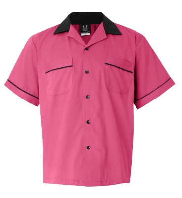 Vintage & Retro Shirts, Halter Tops, Blouses PinkBlack Legend 2244 Button Up Bowling Shirt $34.95 AT vintagedancer.com