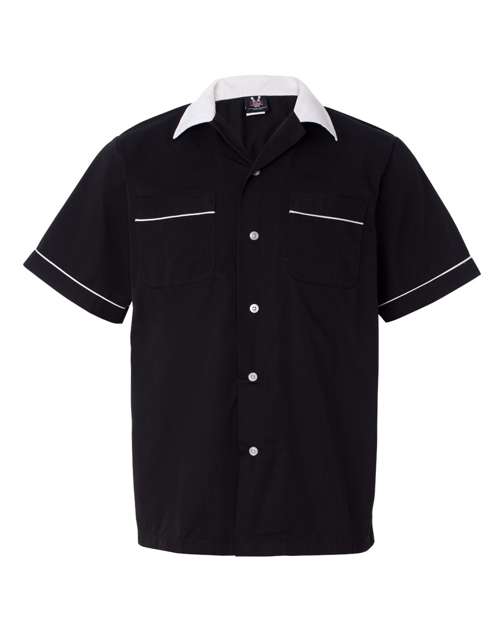 1950s Mens Shirts | Retro Bowling Shirts, Vintage Hawaiian Shirts Classic Bowler 2.0 Bowling Shirt - Black  White $39.95 AT vintagedancer.com