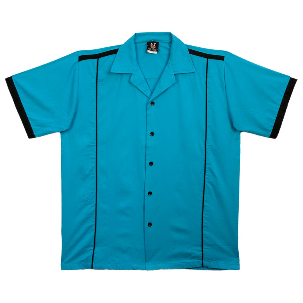 1950s Mens Shirts | Retro Bowling Shirts, Vintage Hawaiian Shirts Custom- Turquoise  Black Hilton Kingpin Bowling Shirt $41.95 AT vintagedancer.com