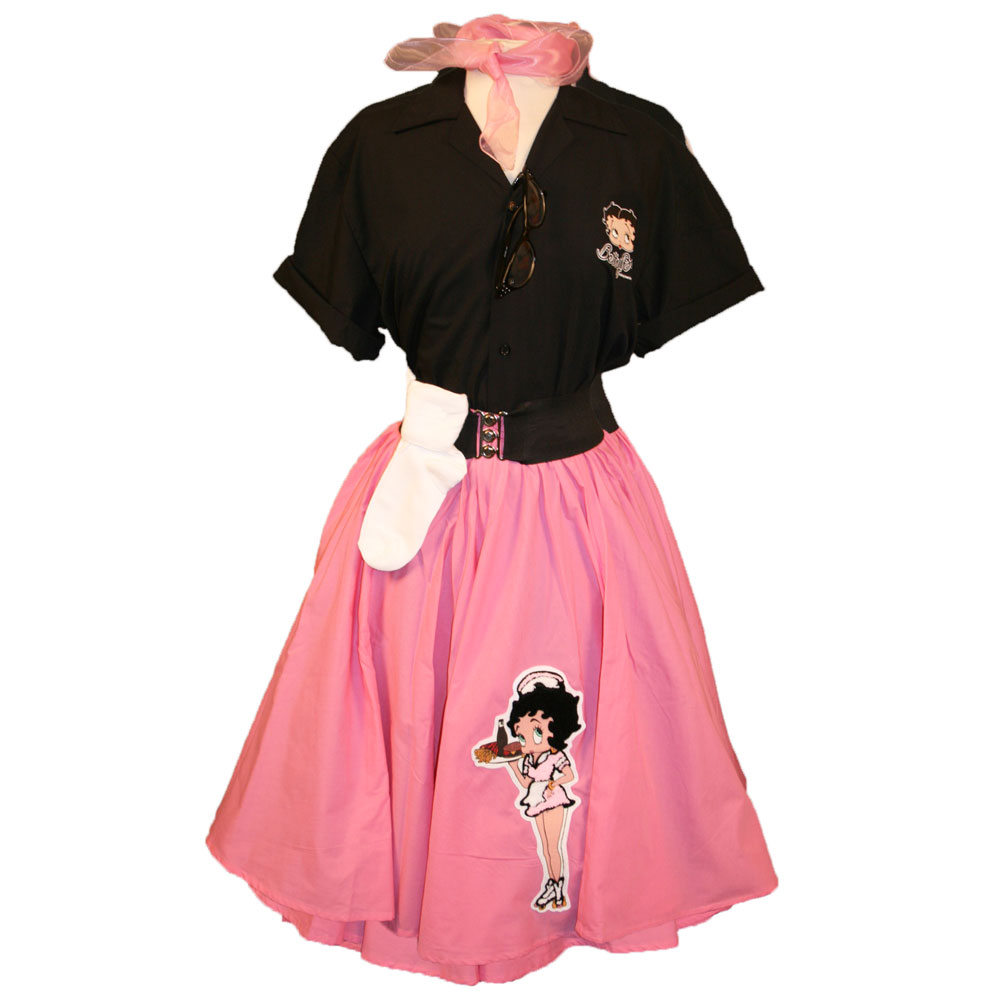 Adult Betty Boop Complete Outfit With Pink Circle Skirt w/ Betty Boop Pink Carhop Waitress Chenille & 50's Blouse