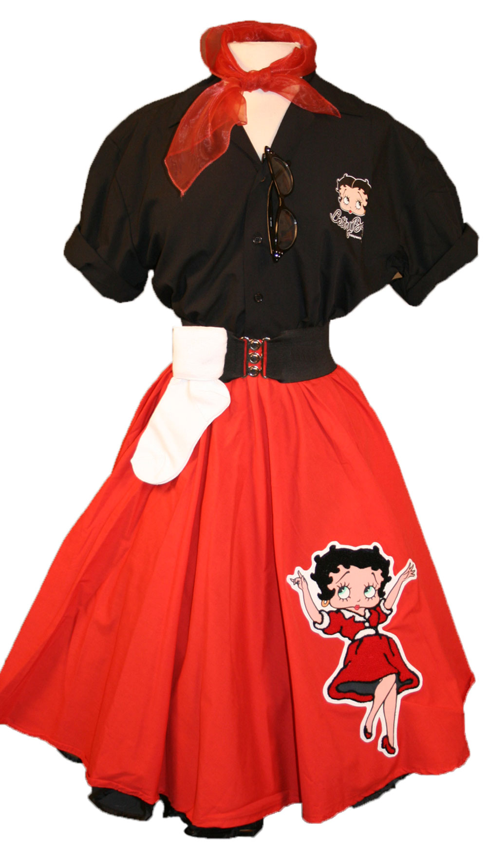 Adult Betty Boop Complete Outfit with Red Circle Skirt w/ Betty Boop Red Blow Up Dress Chenille & 50's Blouse