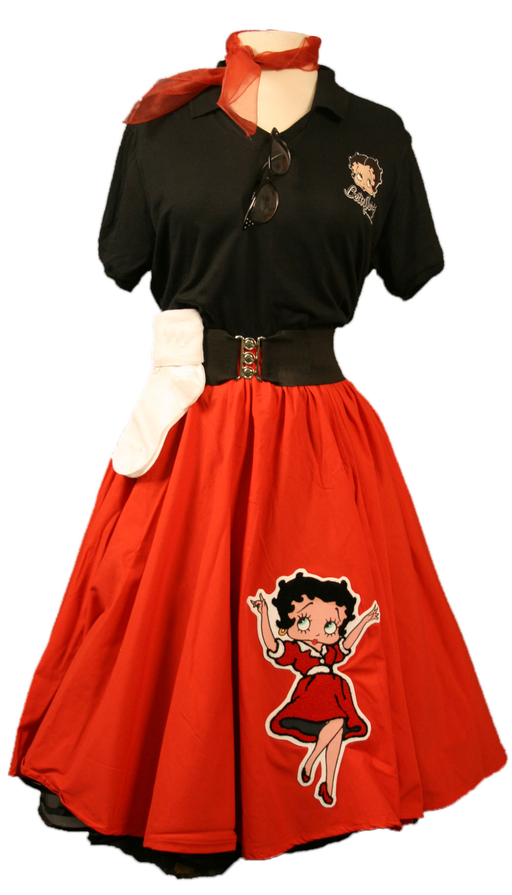 Adult Betty Boop Complete Outfit with Red Circle Skirt  w/ Betty Boop Red Blow Up Dress Chenille & Fitted Top