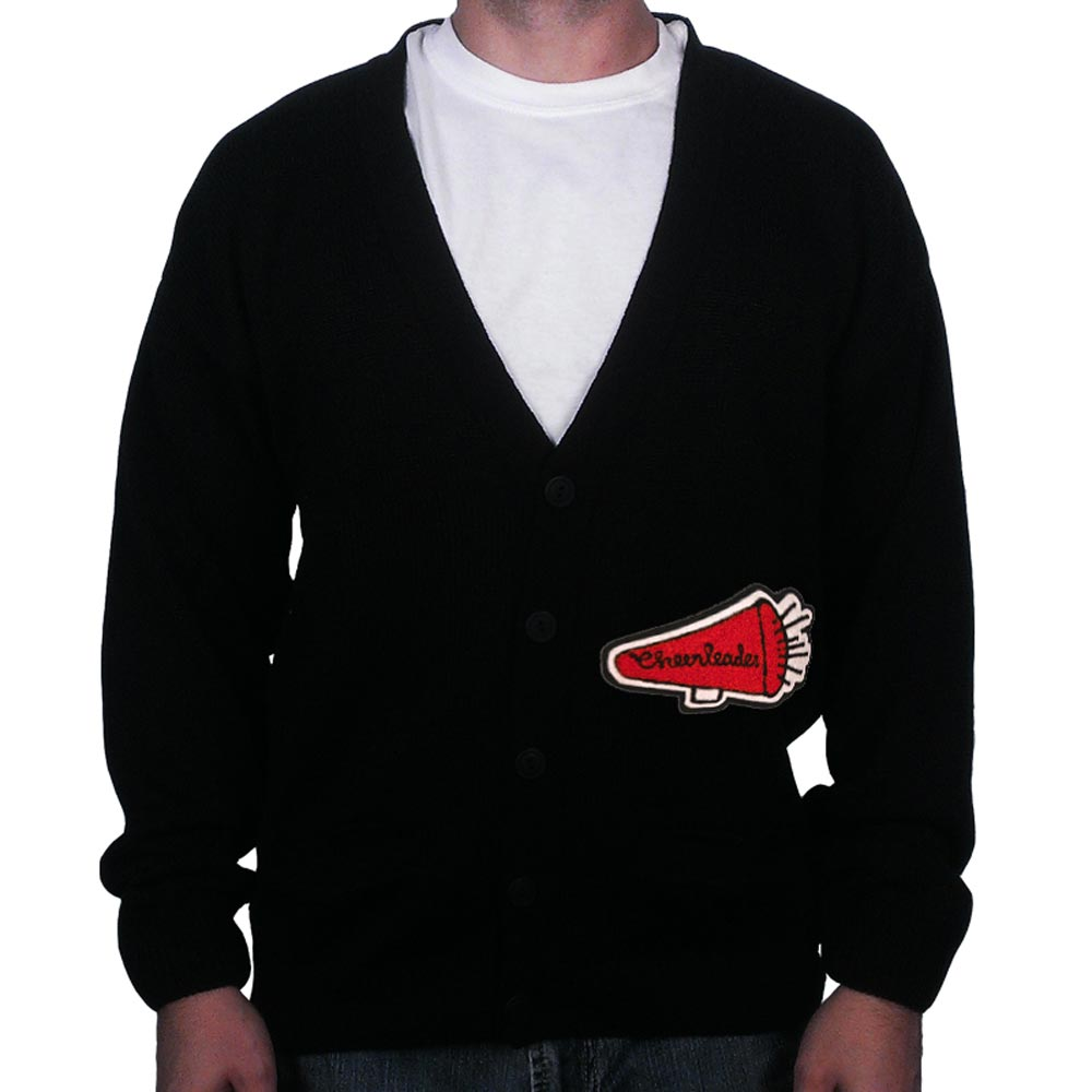 Black Letterman Sweater:  Chenille patch - Black - SM (36)