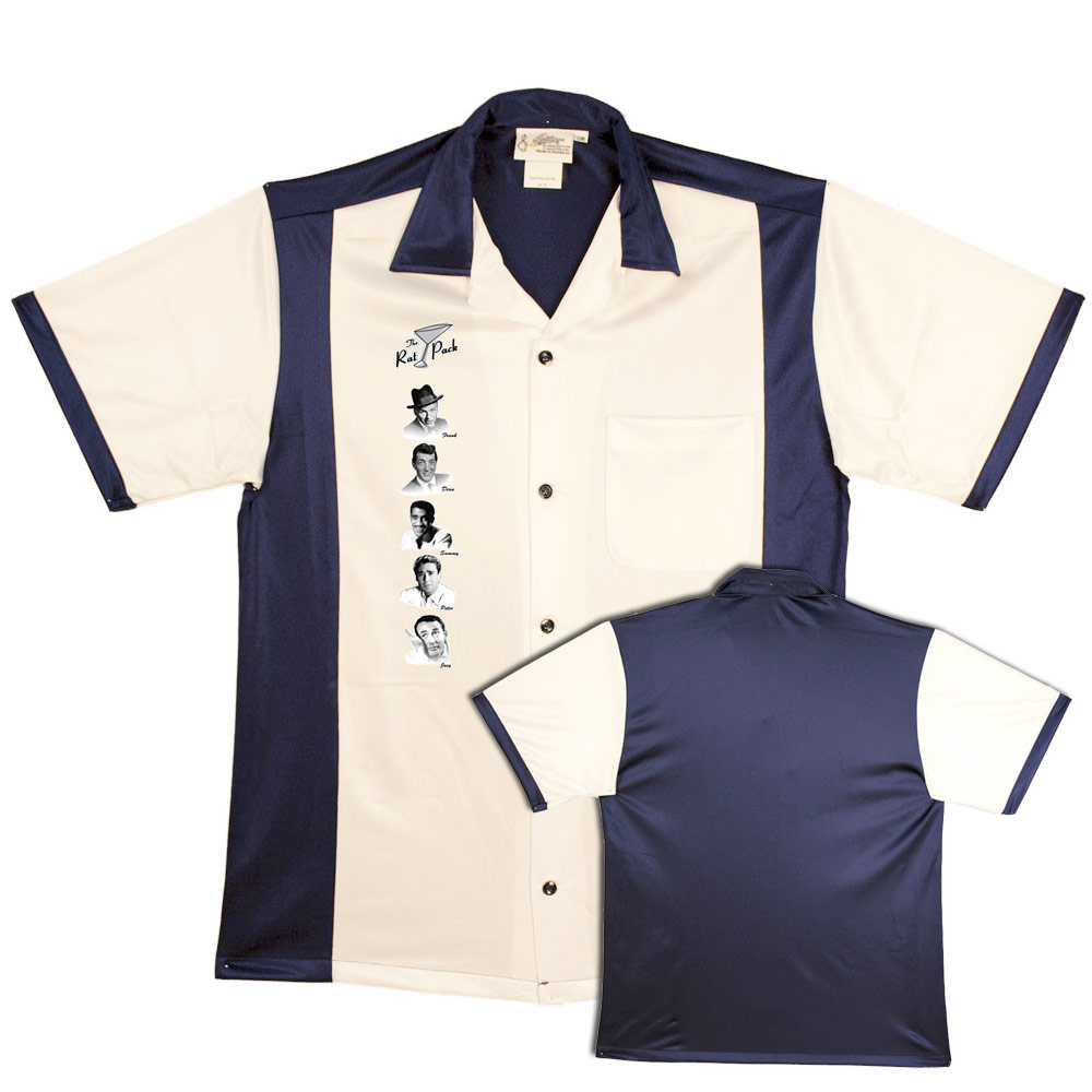 The Rat Pack: Bowling Shirt - NEW White/Navy