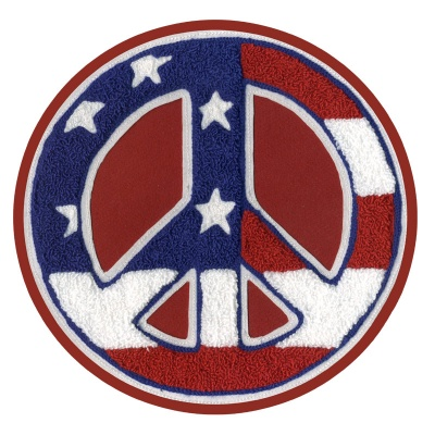 Round Peace Symbol Patch: Red, White & Blue