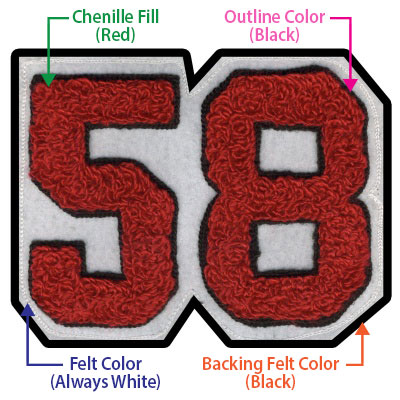 custom chenille patch: red letters with felt backing - Red - 55