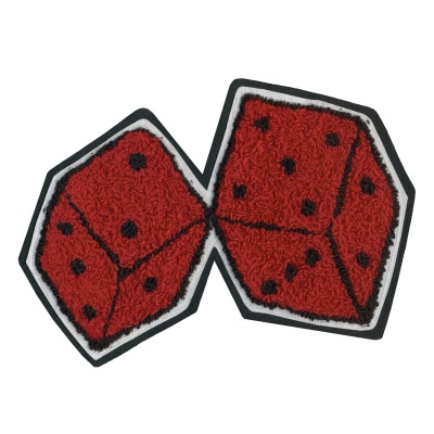 1950s Men's Jackets Large Dice Chenille Patch $14.95 AT vintagedancer.com