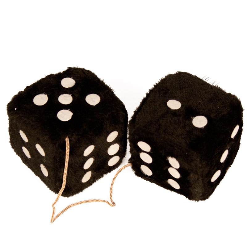 Fuzzy Dice:  Pink, Red, Blue - Black