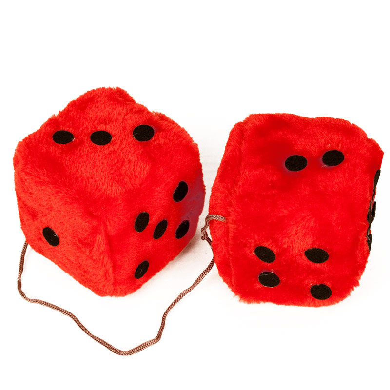Fuzzy Dice:  Pink, Red, Blue - Red