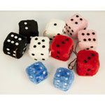 Fuzzy Dice:  Pink, Red, Blue