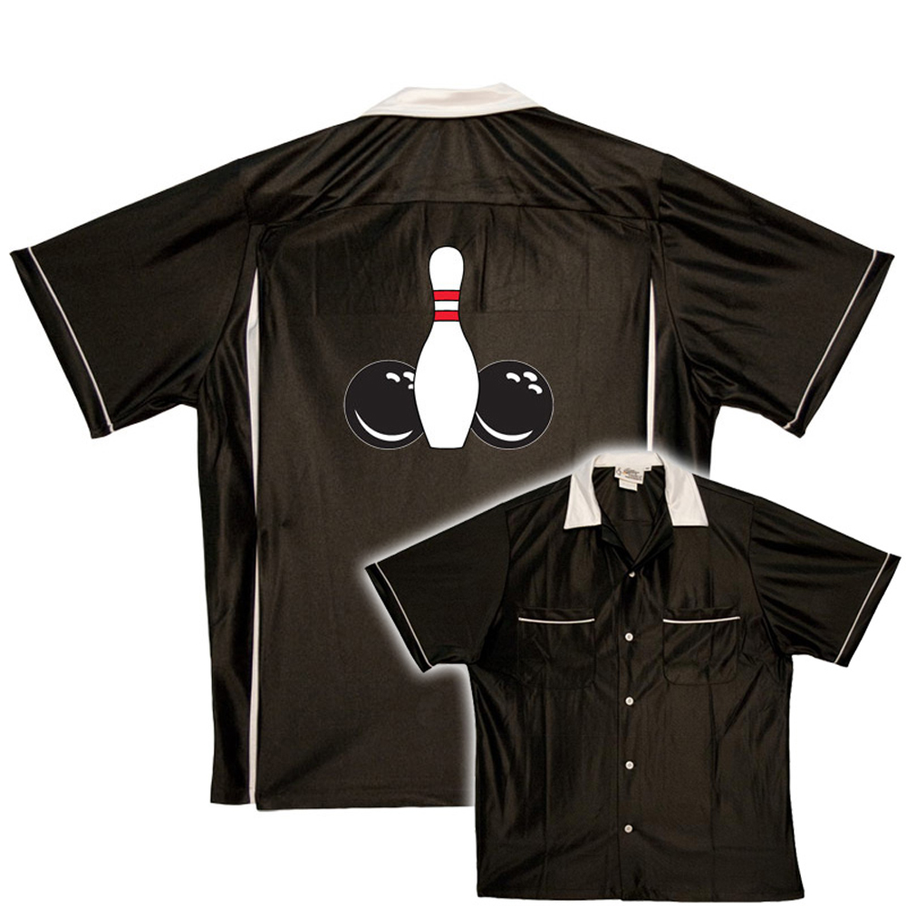 Funny Bowling Shirt:  Pin and Balls - Black/white
