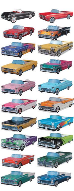 Cardboard Classic Cars:  Party Pack