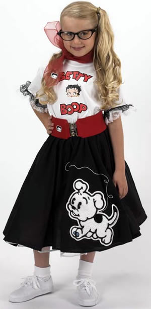 Kids 1950s Clothing & Costumes: Girls, Boys, Toddlers Youth Betty Boop Complete Black Circle Skirt Outfit w Pudgy Chenille $79.95 AT vintagedancer.com