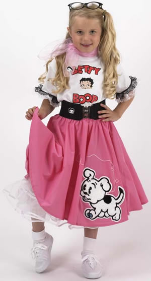 Youth Betty Boop Complete Pink Circle Skirt Outfit w/ Pudgy Chenille