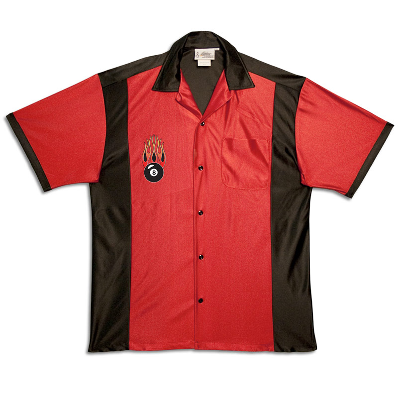 Flaming 8-Ball on Retro Bowling Shirts