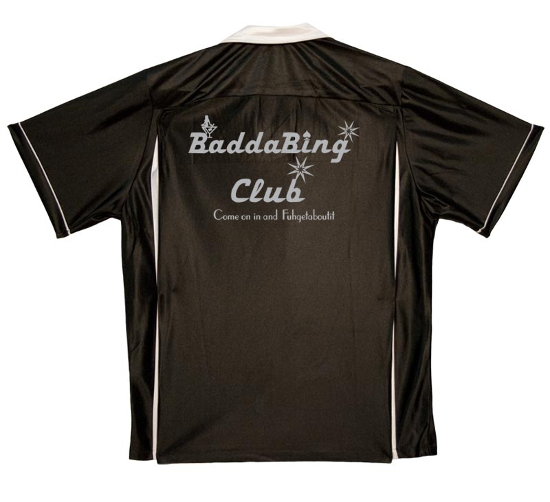 1950s Style Mens Shirts Baddabing Club Stock Print on 50s Style Bowling Shirts $34.95 AT vintagedancer.com