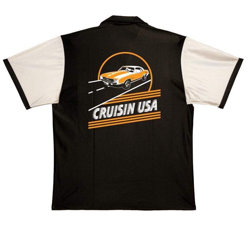 1950s Style Mens Shirts Cruisin Camaro Stock Print on 50s Style Bowling Shirts $34.95 AT vintagedancer.com