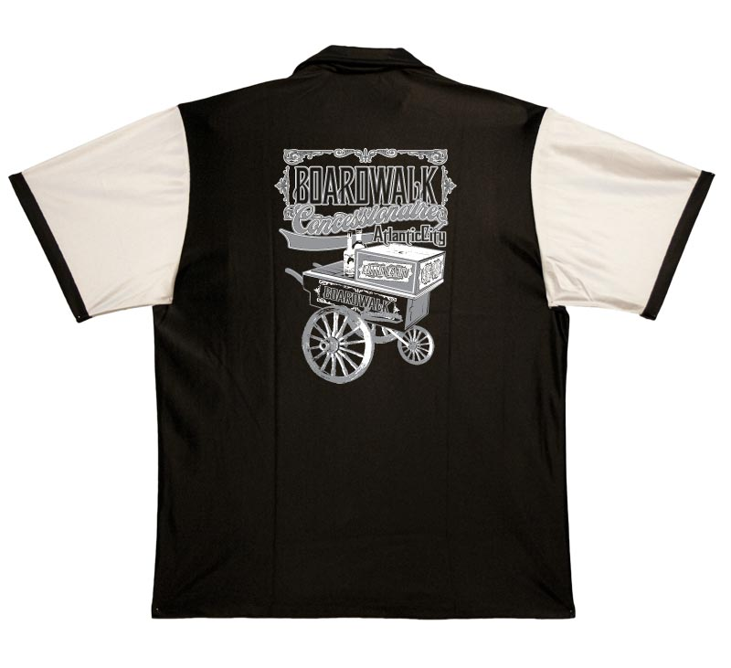 Boardwalk Concessionaire Stock Print on 50s Style Bowling Shirts $34.95 AT vintagedancer.com