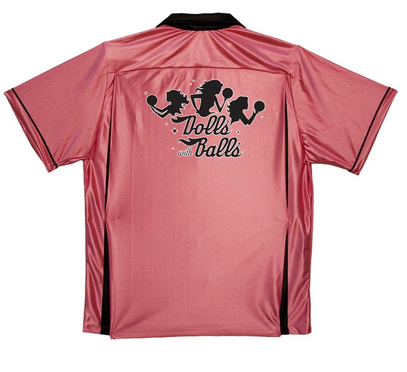 Ladies' Bowling Shirt: Pink & Black