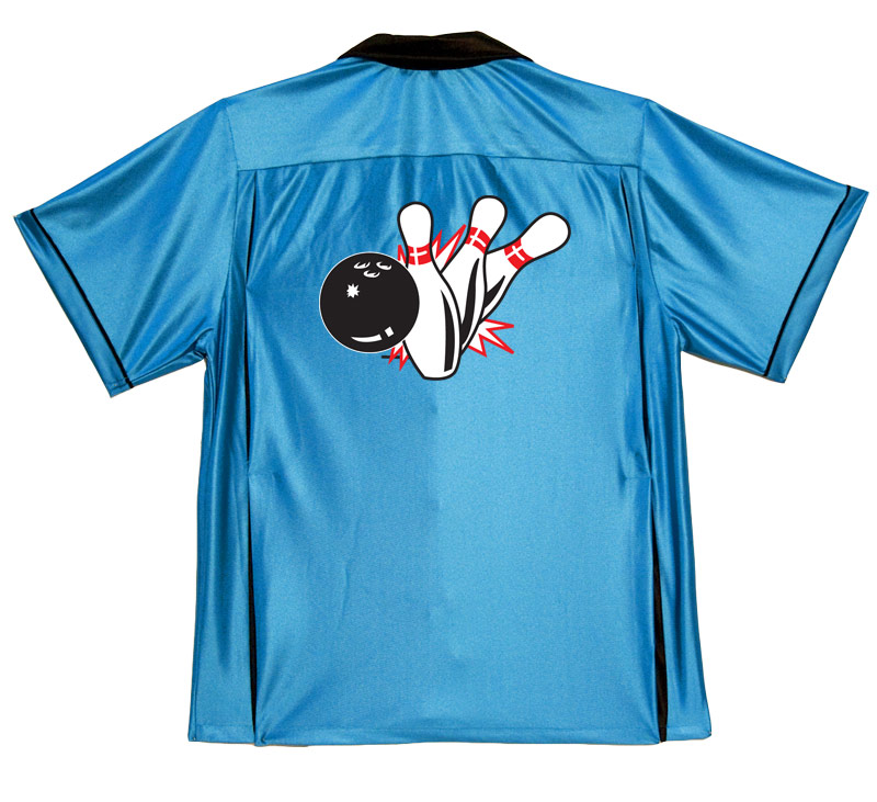 Pin Splash B Stock Print on 50's Style Bowling Shirts
