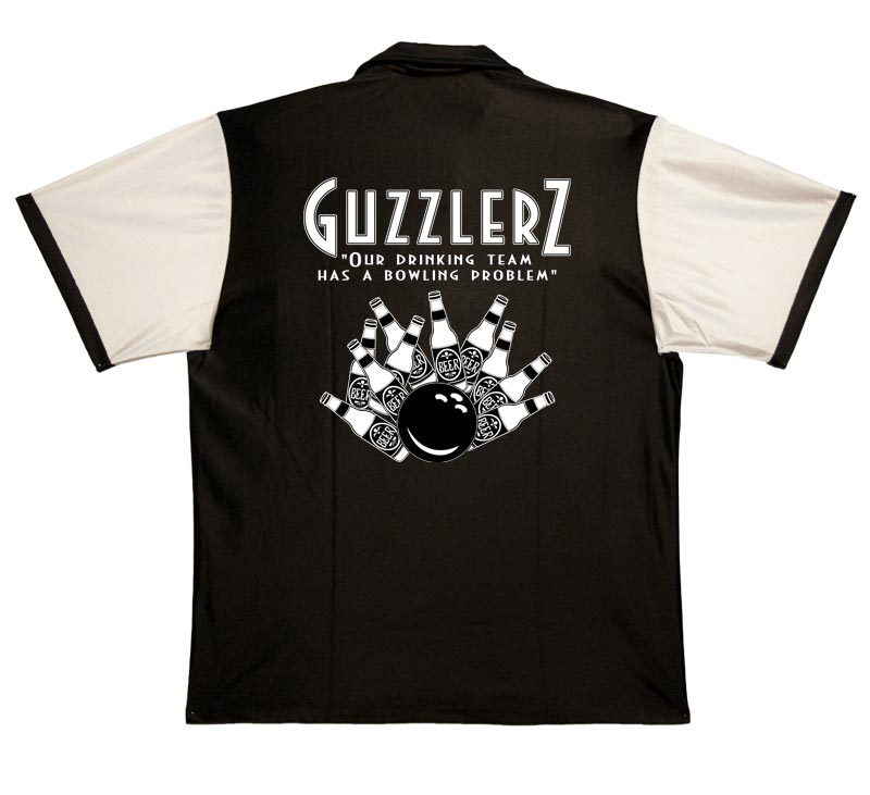 Guzzlers Stock Print on 50's Style Bowling Shirts