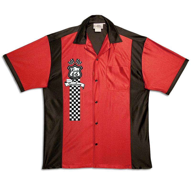 1950s Style Mens Shirts Route 66 Speedway Stock Print on 50s Style Bowling Shirts $34.95 AT vintagedancer.com