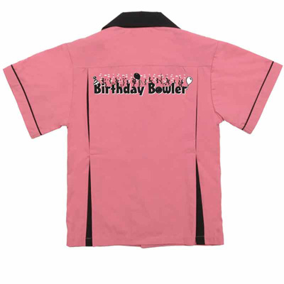Birthday Bowler on Kids Bowling Shirt Pink & Black Classic