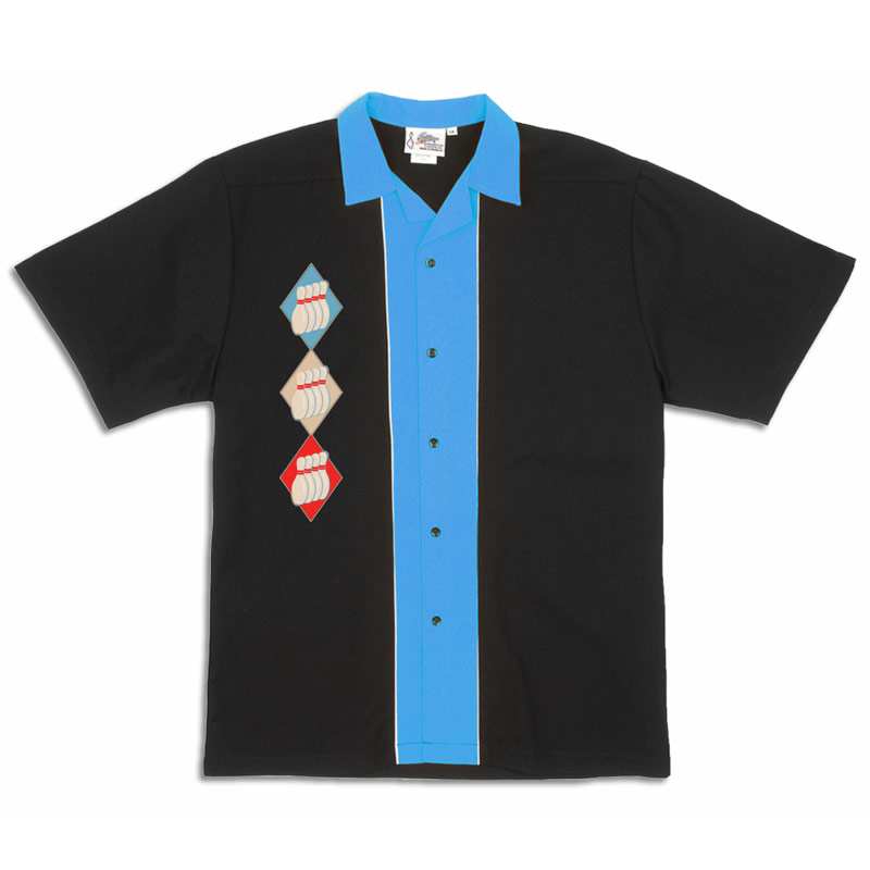 Diamond Pins Stock Print on 50's Style Bowling Shirts