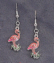 1950s Costume Jewelry Pair of Flamingo Earrings $4.95 AT vintagedancer.com
