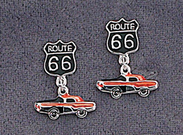 1950s Costume Jewelry Pair of Route 66 Earrings $4.95 AT vintagedancer.com