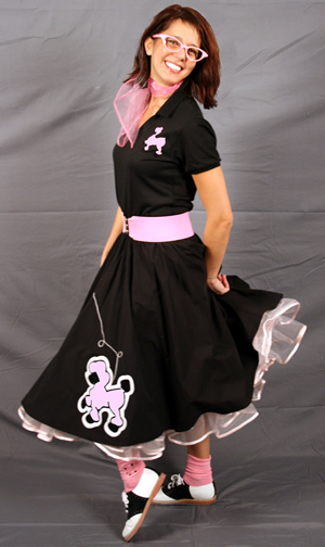 Adult Fitted Top Complete Poodle Skirt Outfit - Black