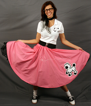 Adult Fitted Top Complete Poodle Outfit - Pink