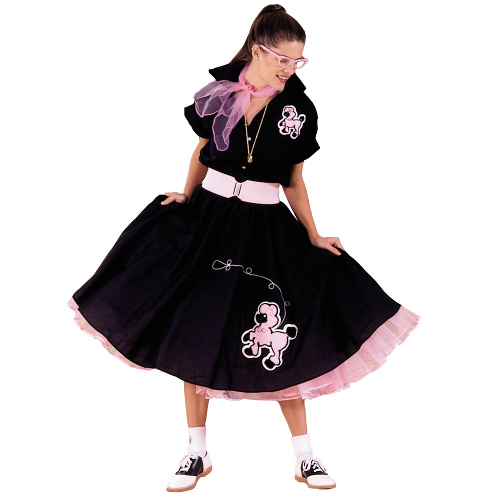 Adult Black Complete Poodle Skirt Outfit