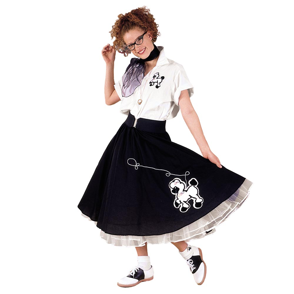Adult Black & White Complete Poodle Skirt Outfit