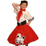 Youth Red Complete Poodle Skirt Outfit