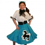 Youth Turquoise Complete Poodle Skirt Outfit