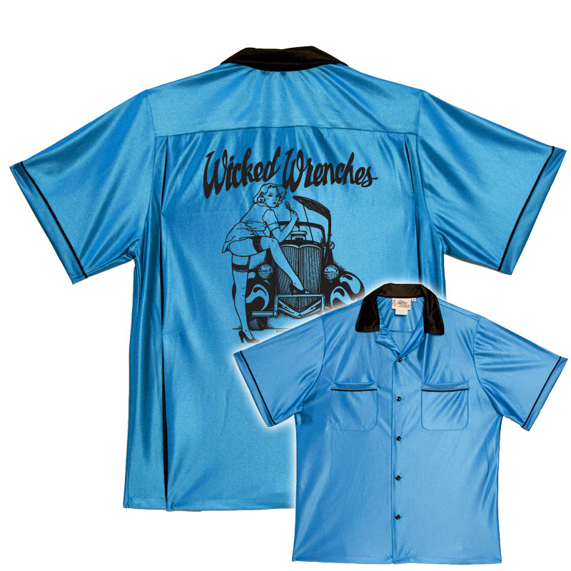 Wicked Wrenches On Classic Bowling Shirts