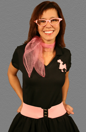 Adult Fitted Top Poodle Blouse - Black