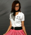 Adult Fitted Top Poodle Blouse - White