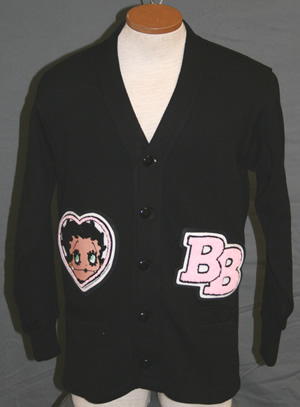 Men's Vintage Style Sweaters – 1920s to 1960s Betty Boop Letter Sweater Black w Pink Chenille $94.95 AT vintagedancer.com