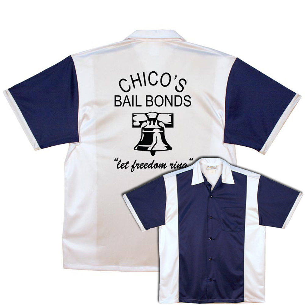 Chico's Bail Bonds Stock Print on Navy & White Retro Bowler