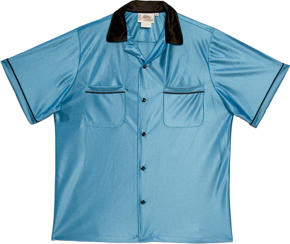 Turquoise Blue & Black Bowling Shirt - MD